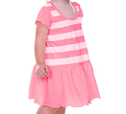 Kavio! Infants Girls Striped Jersey Scoop Neck Flutter Sleeve Dress Striped White/PinkFlash 6M (Striped Flutter Sleeve Dress)