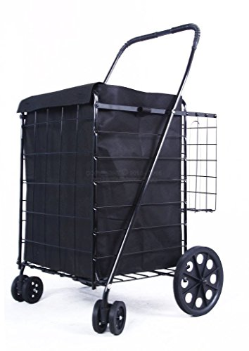 Large Folding Shopping Cart w/Swivel Wheels Extra Basket Grocery Laundry - Black Cart With Black Liner
