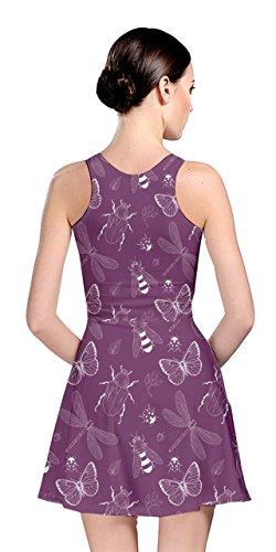 Cowcow Femmes Motif Insecte Patineur Réversible Violet Robe