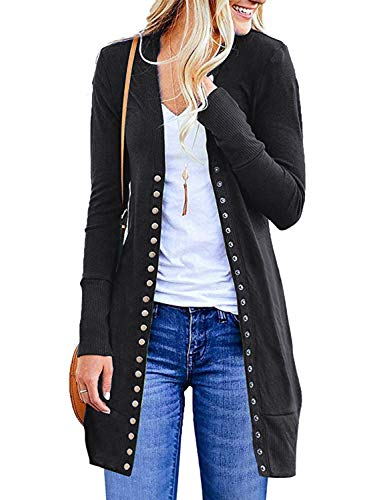 Cotton Long Cardigan - MIHOLL Women's Casual Snap Button Down Pockets Knit Long Cardigan Sweater (XX-Large, Black)