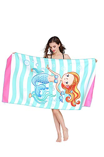 Jastella Women Girls Kids Oversized Microfiber Pool Beach Towel Quick Drying Lightweight Ultra Absorbent Towel (63x31in) for Women Kids Travel Sports, Compact Fitness, Swimming, Beach, Bath (Mermaid)