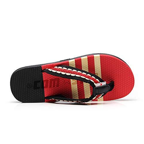 Rouge Stripe Femmes Rouge Flops Clip Sandales 41 EVA Flat Taille EU Toe ZHRUI Flip Beach coloré Summer tdqwaE7t