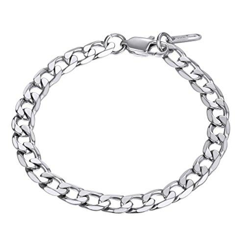 (PROSTEEL Stainless Steel Bracelets Men Women Jewelry Gifts Stacking Layering Curb Chain Cuban Link Bracelet)