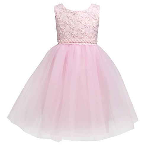 Flower Baby Girl Lace Dress - Kids Princess Pageant Party Wedding Dresses  Pink XL(2-3Year)]()