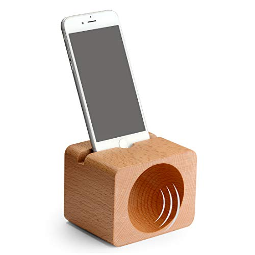 Linkidea Wood Sound Amplifier with Cell Phone Holder, Phone Sound Reinforcement Holder Stand for iPhone Xs/Xr/X/8/8p/7/7p/6s/ 6Plus, Samsung Galaxy s7/s8/s9/s9, Android Smartphones Within 5.5 Inches