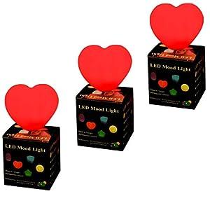 Set of 3 Heart LED Mood Lights Colour Changing Sensory Lamps by PK Green