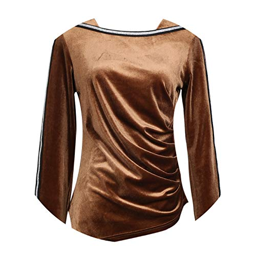 New 2018 Autumn Winter Tops Women Long Sleeve O Neck s T Shirt Female,Khaki,L -
