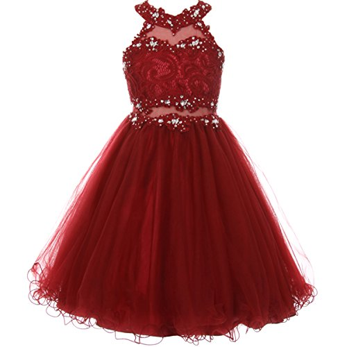 CrunchyCucumber Little Girls Short Length Dazzling Halter-Neck Hand Beaded Rhinestones Bodice Wired Tulle Skirt Flower Girl Dress Burgundy - Size ()