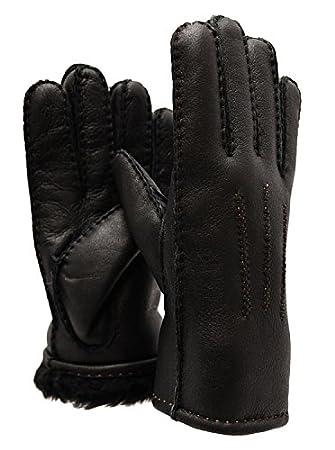 Ricardo B.H. Premium Men's Sheepskin Gloves - Black With Tan Stitch - Leather Finish (X-Large)