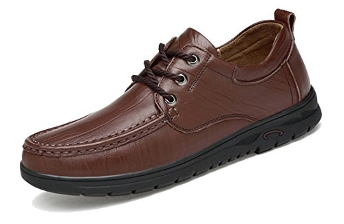 TDA Men's Rubber Sole Dark Brown Leather Fashion Breathable Loafers Driving Lace-up Casual Business Shoes 7 M US by TDA (Image #7)'