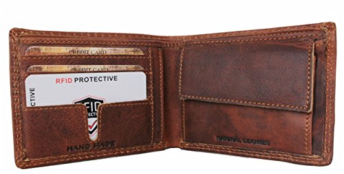 Wallet RFID Reno Card Men Genuine d´Oro by Block Holder ID slim for Corno Handmade brown Leather Bifold thin Wallets 7IwrUIn