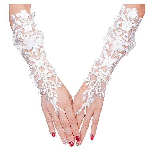 VITORIA'S GIFT The Bride Marriage Dress Wedding Sequin Lace Gloves Wedding Gloves (Pearl-White)