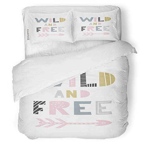 SanChic Duvet Cover Set Wild and Free Unique Nursery Handdrawn Lettering Decorative Bedding Set with Pillow Sham Twin Size