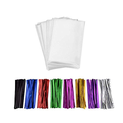 200 Pcs 6 in x 4 in Clear Flat Cello Cellophane Treat Bags(1.4mil) Good for Bakery, Cookies, Candies,Dessert.