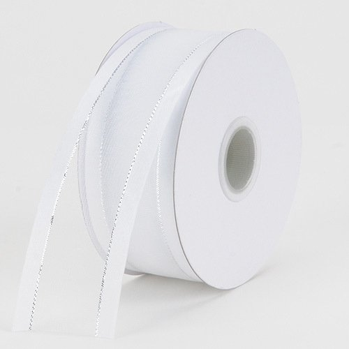 BBCrafts 1-1/2 inch x 25 Yards Two Striped Satin Edge Organza Ribbon Decoration Wedding Party (White with Silver Edge) ()