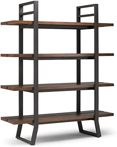 Simpli Home Adler Solid Wood and Metal 66 inch x 54 inch Modern Industrial Bookcase
