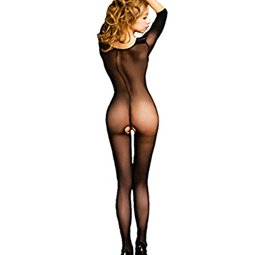 FAVOLOOK Women's Sexy Short Sleeved Lingerie Bodystocking Seamless Sheer Crotchless Body Tights (Tight Body)