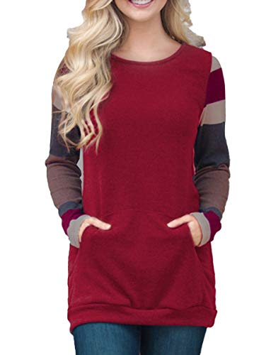 Women's Color Block Long Sleeve Sweatshirt Tunic Tops Lightweight Kangaroo Pocket T Shirts Deep Red ()