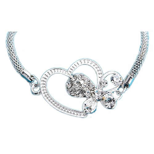 Butterfly with heart relationship puzzle couples lover fashion chain silver alloy plated bracelet (Austin Powers Girl Costume)