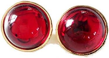 WATERMELON Moda Redondo Red Retro Retro Chapado en Oro Oído Clip Resina Salvaje Pendientes de Aleación de Imitación de Piedras Preciosas Joyas del Oído Earrings