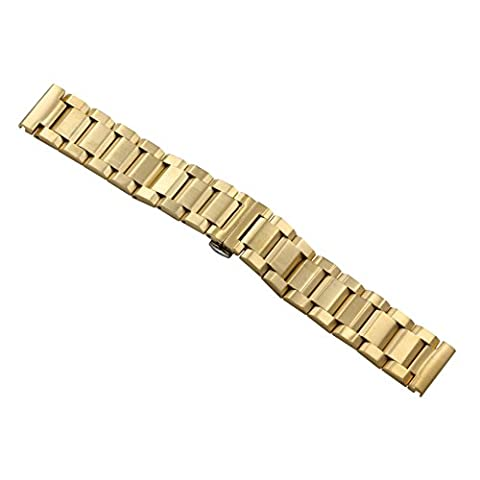 24mm Men's Premium Gold Large Wide Metal Watch Bands Replacements Heavy Type Oyster Style 316L (Rolex In Acciaio Inossidabile Oyster)