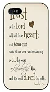 Trust in the Lord with all thine heart and lean not unto thine own understanding in all ways - Proverbs 3:5-6 - Bible verse iPhone 4 / 4s black plastic case / Christian Verses