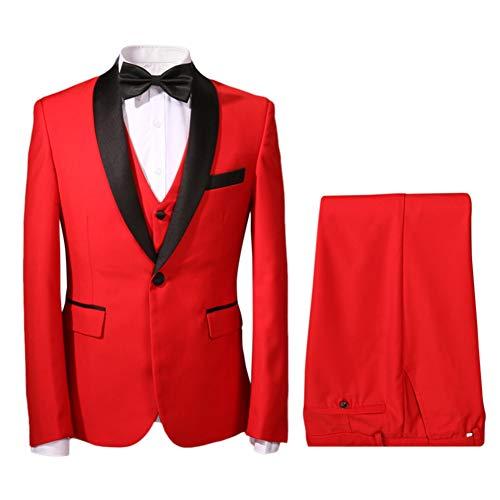 (Mens One Button 3 Piece Suit Slim Fit Blazer Jacket Vest & Trousers(Small, Red))