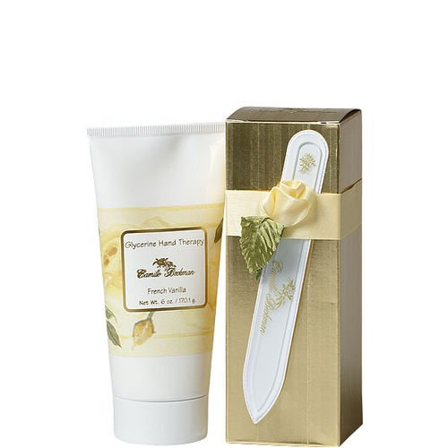 Camille Beckman Romantic Manicure Gift Set, French Vanilla, Glycerine Hand Therapy 6 oz, Premium Crystal Nail File