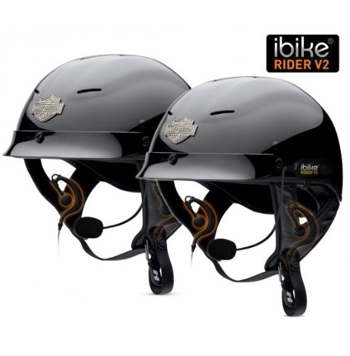 iBike Rider® V2 TWIN PACK headset kits with microphone in helmet for motorcycle/skiing and compatibility with VoIP Intercom.