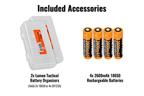 Fenix TK75 2018 5100 Lumens High-Performance Long-Throw Micro-USB Rechargeable Flashlight, 4x 2600mAh 18650 Rechargeable Batteries, 2x Lumen Tactical Battery Organizers by Fenix (Image #1)