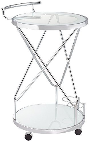 Studio 55D Page Glass and Chrome 2-Shelf Rolling Serving Cart - Studio Corner Glass Shelf