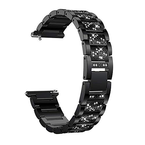 Orcbee  _Stainless Steel Diamond Bracelet Watch Replacement Band Strap for Fitbit Versa (Black)