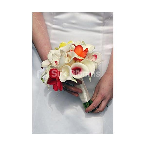 Tropical Ivory & Fuchsia Frangipani Lily & Orchid Bridal Bouquet