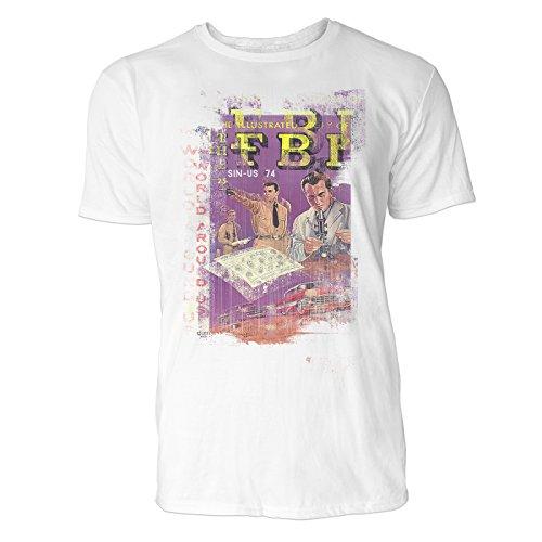 SINUS ART® FBI Herren T-Shirts stilvolles weißes Fun Shirt mit tollen Aufdruck
