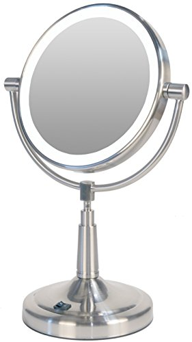 Vanity Lights Cyber Monday : Zadro Cordless Dual-Sided LED Lighted Vanity Mirror, Satin Nickel Black Friday & Cyber monday