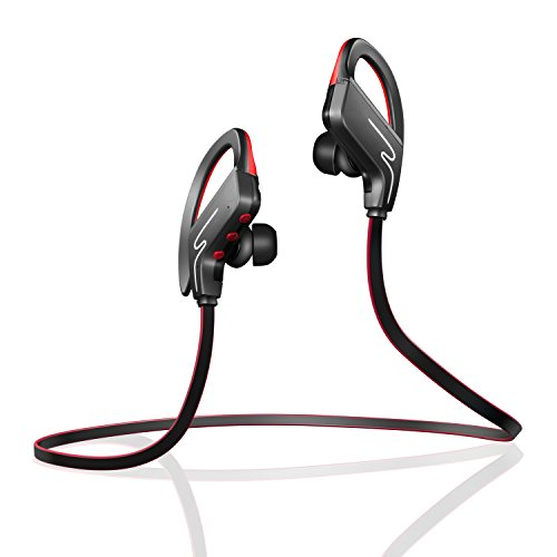 Bluetooth Headphones,Ailis SP-6 Wireless Earphones,Snug Fit for Sports with Built in Mic,Stereo Sound Headset with adjustable ear-hooks,Noise Cancelling Sweatproof In-Ear Earbuds for Running Traveling