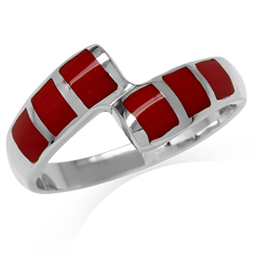 Created Red Coral Inlay White Gold Plated 925 Sterling Silver Bypass Casual Ring Size 8 ()