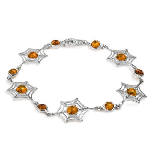 Sterling Silver Amber Halloween Web Bracelet 7.5 Inches