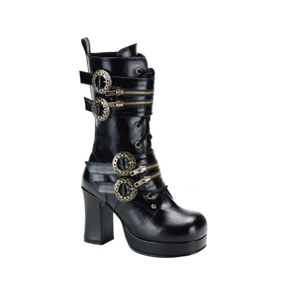 Summitfashions 3 3/4 Inch Gothic Ankle Boots Chunky Heel Steampunk Style Hardware Black 3