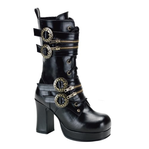 Summitfashions 3 3/4 Inch Gothic Ankle Boots Chunky Heel Steampunk Style Hardware Black