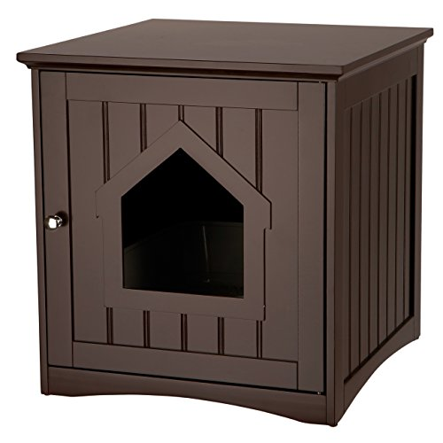 Wooden Cat Home & Litter Box, Brown ()