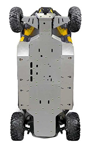 Can-Am Commander MAX, XT, DPS, Limited, 11 Piece Aluminum Full frame skid plate set front & rear A-Arm/CV Boot Guards Rock Sliders with footwell protection by Ricochet 2014, 2015, 2016, 2017 ()