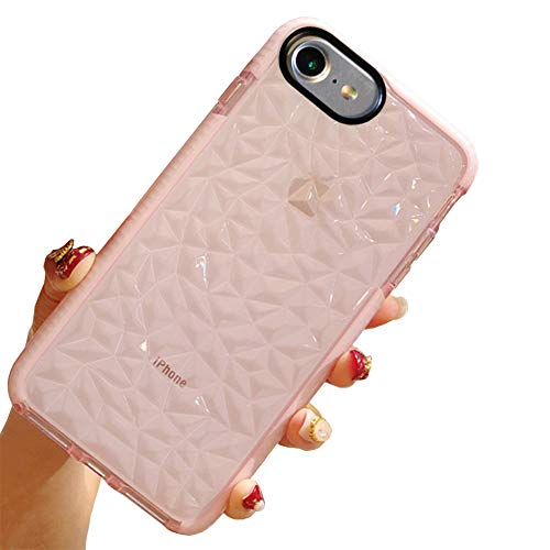iPhone 8 Case, iPhone 7 Case, Clear Case Cover Drop Protection Designed Air Cushion Technology Compatible for Apple iPhone 8/7 - Pink (Diamond Pattern Pink)