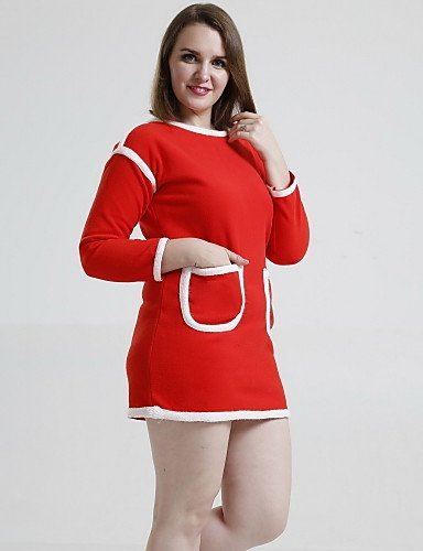 GSP-Damen Kleid - Übergrößen Leger Patchwork Übers Knie Polyester Rundhalsausschnitt