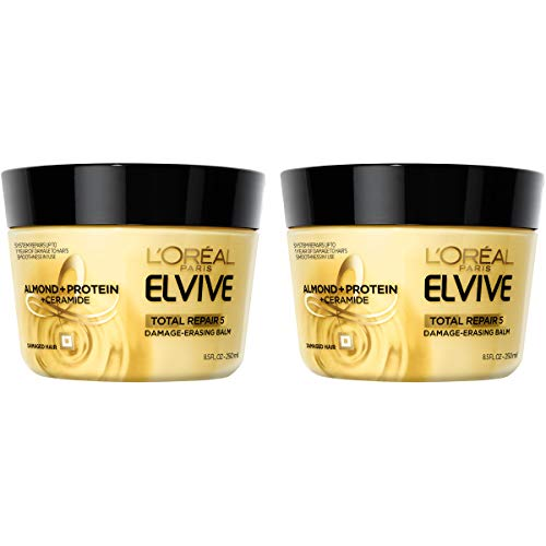 L'Oreal Paris Hair Care Elvive Total Repair 5 Damage Erasing Balm, Conditioning Hair Mask for Damaged Hair, with Almond & Protein, 8.5 fl. oz, (Pack of 2)