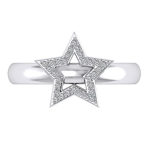 Cubic Zirconia Star Toe Ring - Pretty Jewels 925 Sterling Silver Women's Open Star Adjustable Toe Ring with Round Cut White Cubic Zirconia