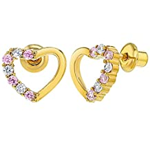 18k Gold Plated Clear Pink Crystal Heart Baby Children Screw Back Earrings