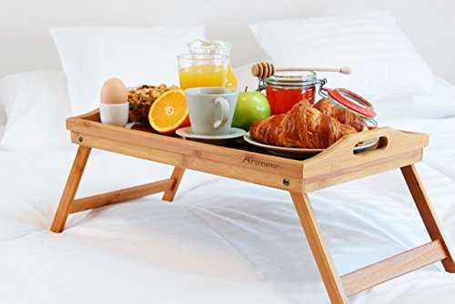 Bed Tray Table with Folding Legs,Serving Breakfast in Bed or Use As a TV Table, Laptop Computer Tray, Snack Tray with Moso Natural Bamboo by Artmeer by Artmeer (Image #8)