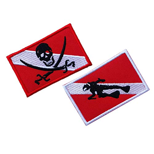 Prettyia 2Pcs Patch Patches Flag Embroidered Iron on Scuba Diver Diving Backpack Bag