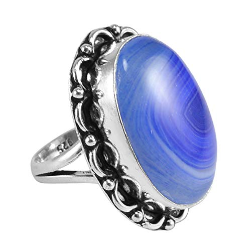 Saamarth Impex Handmade Jewelry Manufacturer 925 Silver Plated, Blue Banded Agate, Cathedral Shank Ring Size 7.25 Jaipur Rajasthan India